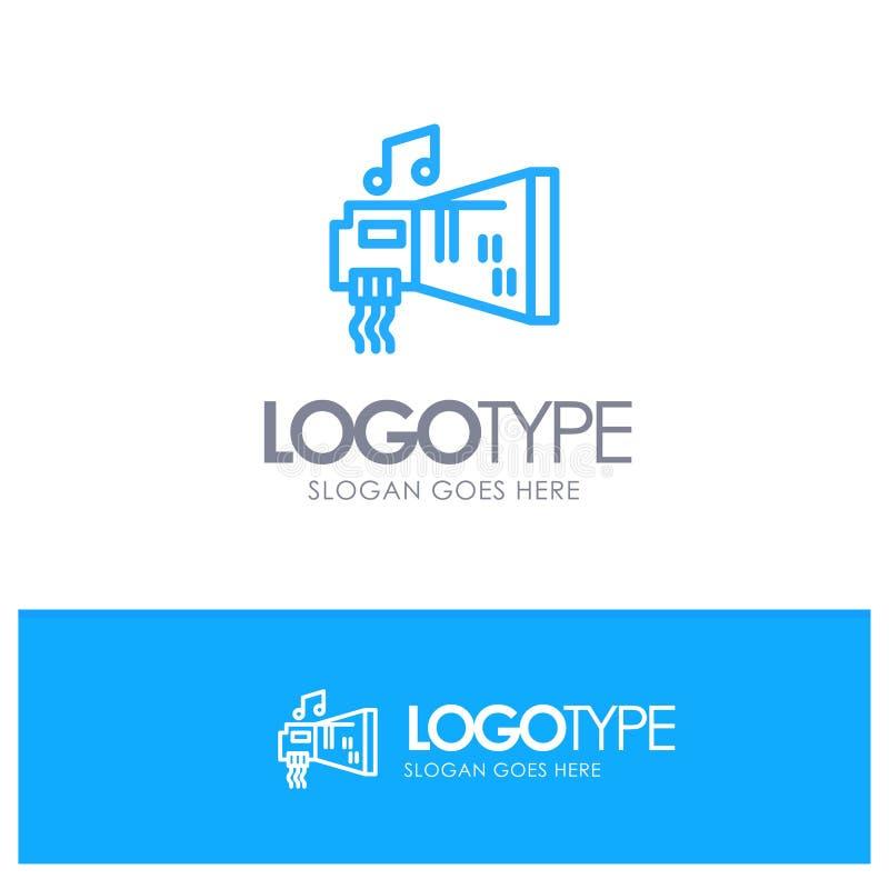 Audio, arenador, dispositivo, hardware, logotipo azul del esquema de la música con el lugar para el tagline libre illustration