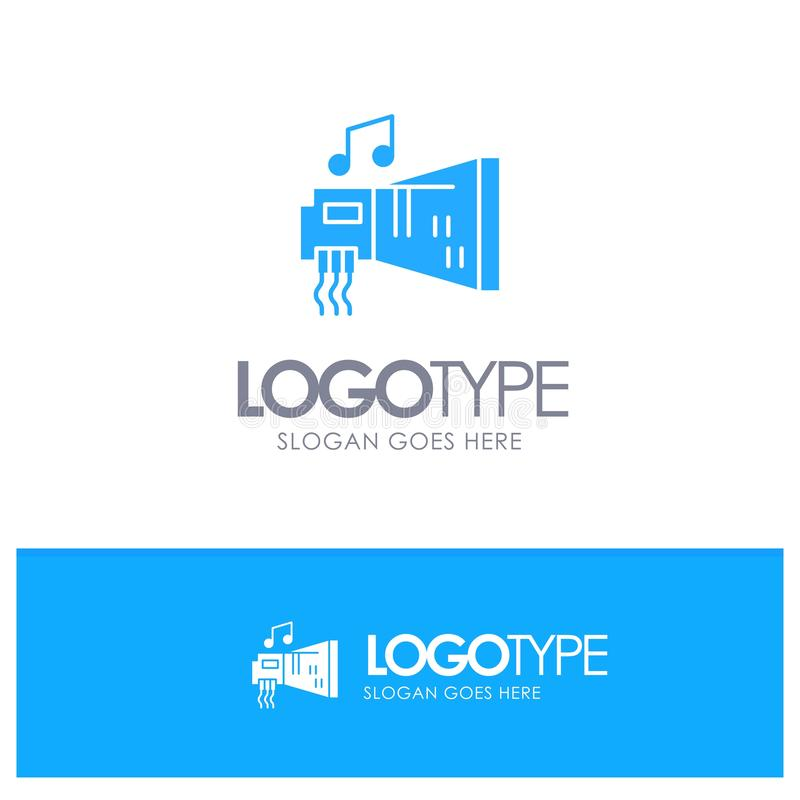 Audio, arenador, dispositivo, hardware, logotipo sólido azul de la música con el lugar para el tagline stock de ilustración