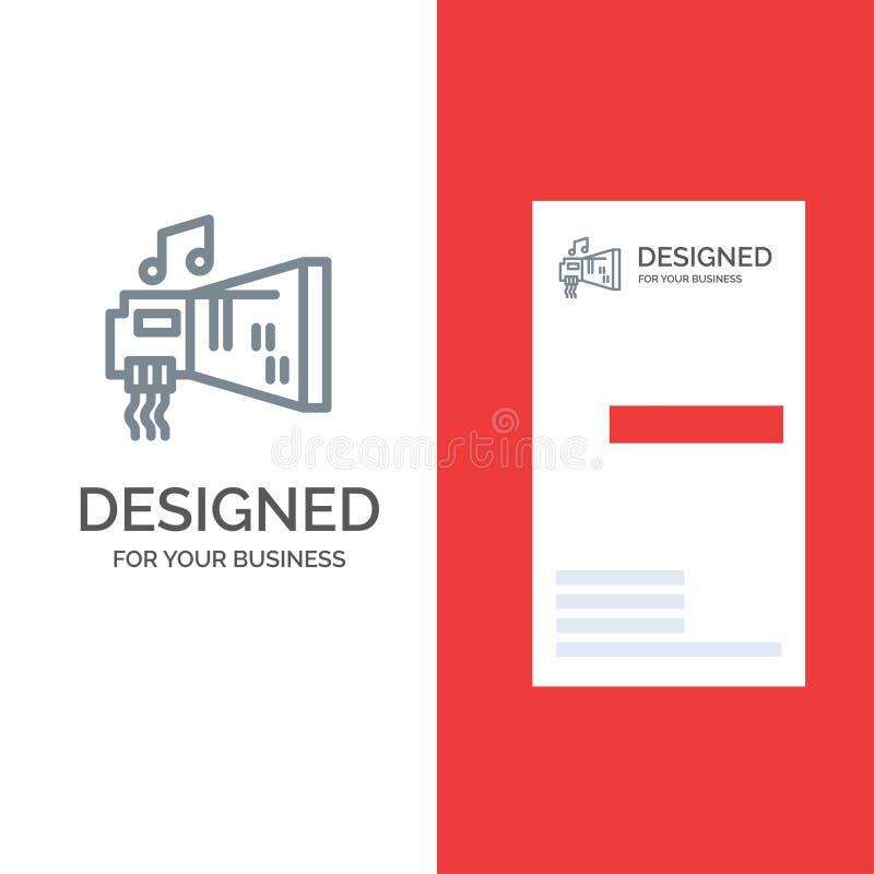 Audio, arenador, dispositivo, hardware, música Grey Logo Design y plantilla de la tarjeta de visita stock de ilustración