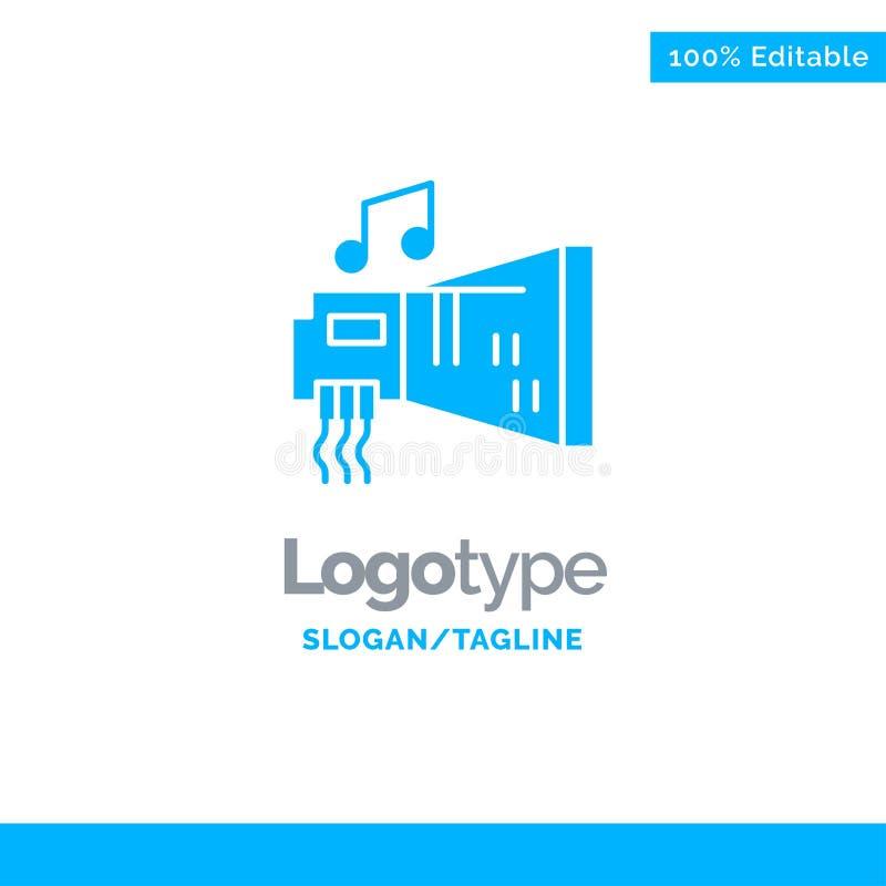 Audio, arenador, dispositivo, hardware, música Logo Template sólido azul Lugar para el Tagline stock de ilustración