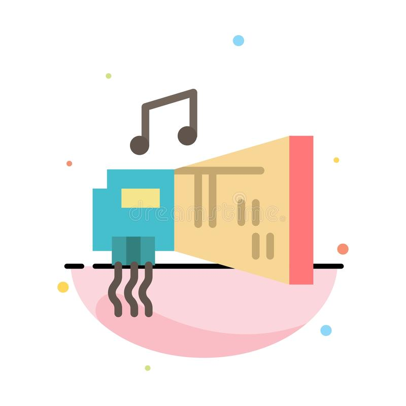 Audio, Blaster, Device, Hardware, Music Abstract Flat Color Icon Template royalty free illustration