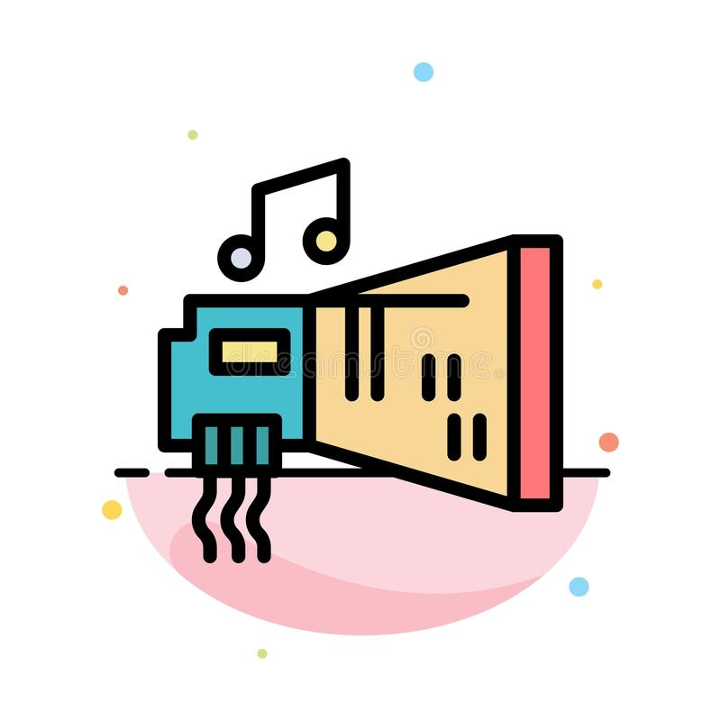 Audio, Blaster, Device, Hardware, Music Abstract Flat Color Icon Template stock illustration