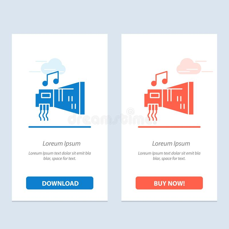 Audio, Blaster, Device, Hardware, Music  Blue and Red Download and Buy Now web Widget Card Template vector illustration