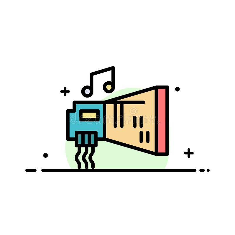 Audio, Blaster, Device, Hardware, Music  Business Flat Line Filled Icon Vector Banner Template royalty free illustration