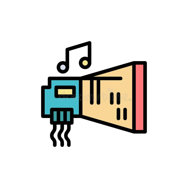 Audio, Blaster, Device, Hardware, Music  Flat Color Icon. Vector icon banner Template royalty free illustration