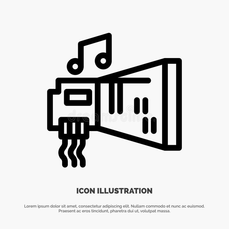 Audio, Blaster, Device, Hardware, Music Line Icon Vector vector illustration