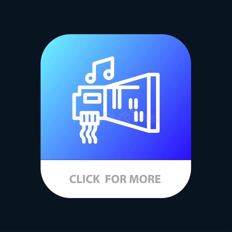 Audio, Blaster, Device, Hardware, Music Mobile App Button. Android and IOS Line Version royalty free illustration