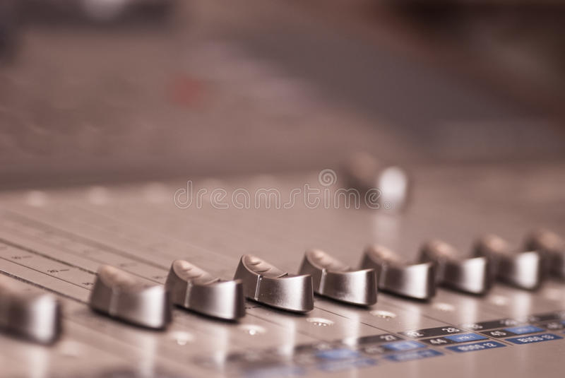 Audio board. Selective focus, shallow deep of field royalty free stock photos