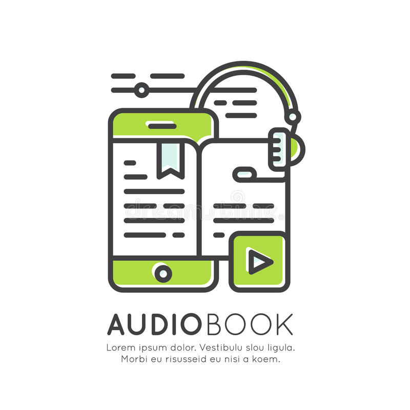 Audio Book, Electronic Reader, Headphones, Education App, Isolated ...