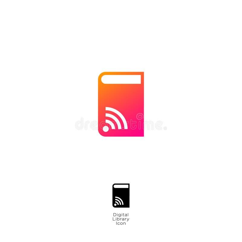 Audio book icon. Digital audio book logo. Online electronic library logo. stock illustration