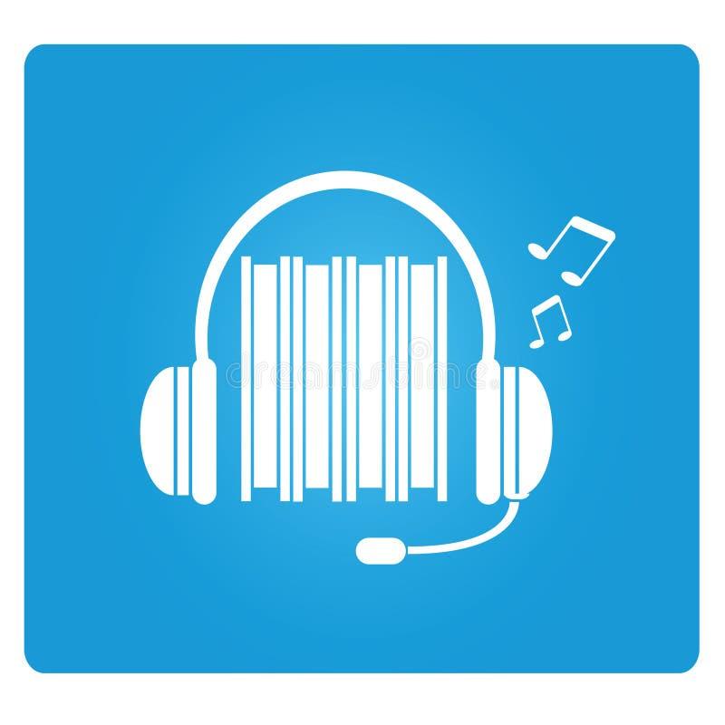 Audio book. Symbol in blue button stock illustration