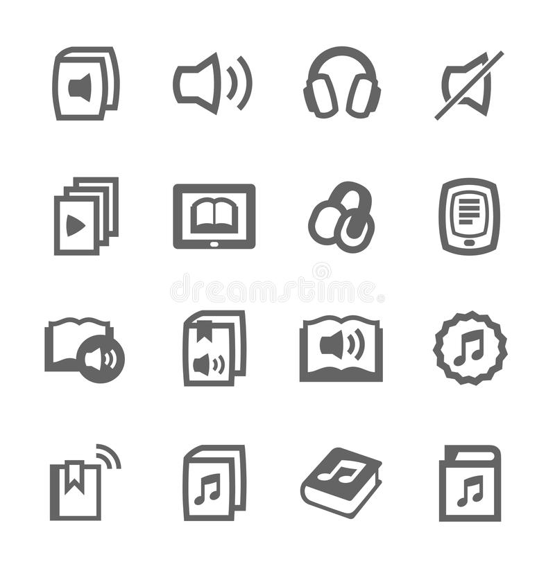 Audio bucht Ikonen lizenzfreie abbildung