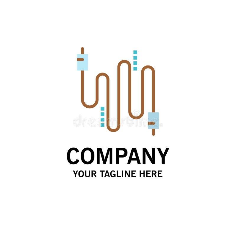 Audio, câble, câbles, affaires Logo Template de communication couleur plate illustration stock