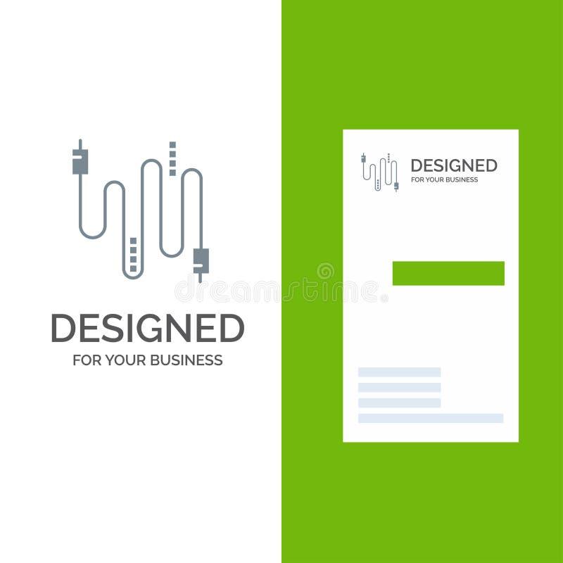 Audio, câble, câbles, communication Grey Logo Design et calibre de carte de visite professionnelle de visite illustration stock