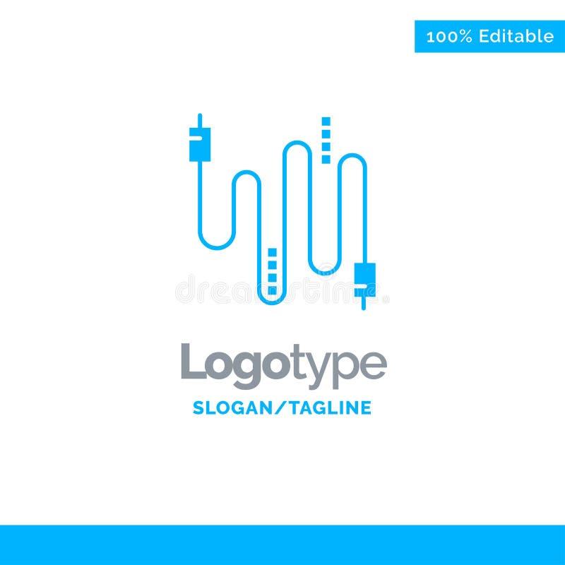 Audio, câble, câbles, communication Logo Template solide bleu Endroit pour le Tagline illustration stock
