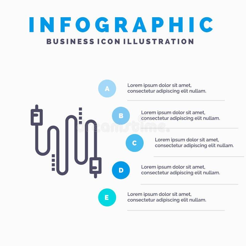 Audio, câble, câbles, ligne de communication icône avec le fond d'infographics de présentation de 5 étapes illustration de vecteur