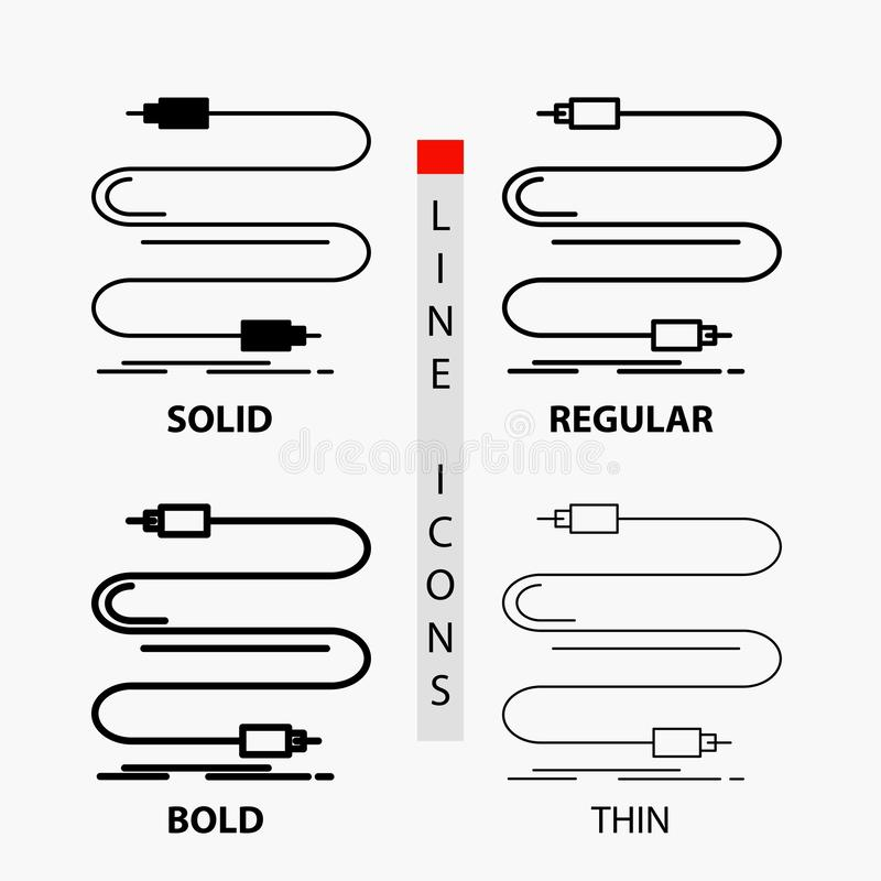 audio, câble, corde, bruit, icône de fil dans la ligne et le style minces, réguliers, audacieux de Glyph Illustration de vecteur illustration de vecteur