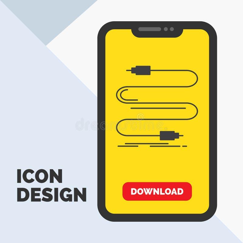audio, câble, corde, bruit, icône de Glyph de fil dans le mobile pour la page de téléchargement Fond jaune illustration de vecteur