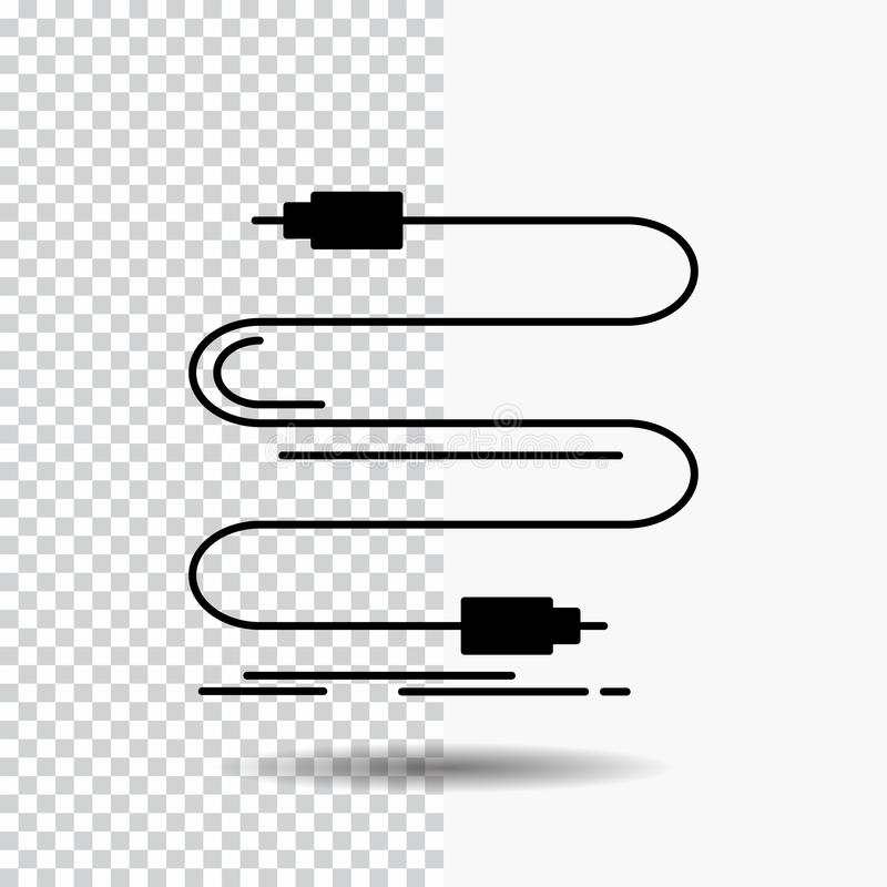 audio, câble, corde, bruit, icône de Glyph de fil sur le fond transparent Ic?ne noire illustration stock