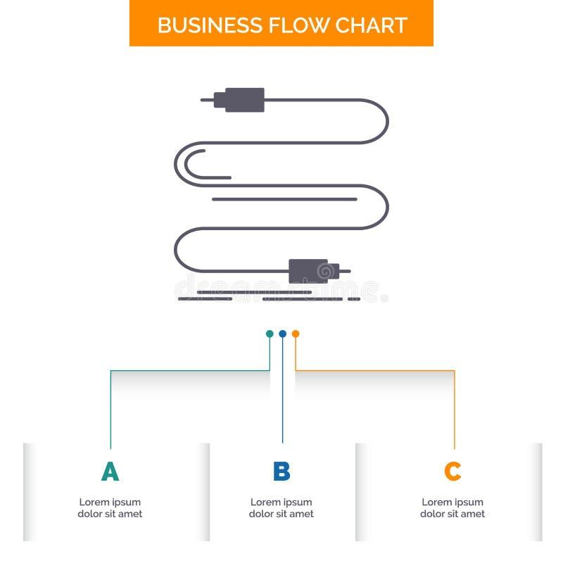 audio, c?ble, corde, bruit, conception d'organigramme d'affaires de fil avec 3 ?tapes Ic?ne de Glyph pour l'endroit de calibre de illustration stock