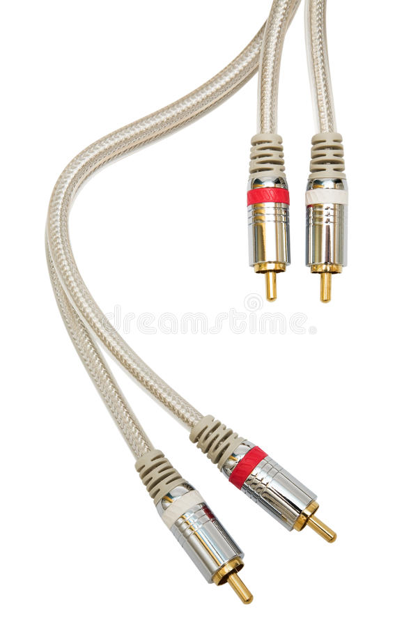 Audio cable. Component audio cable with a gold covering royalty free stock image