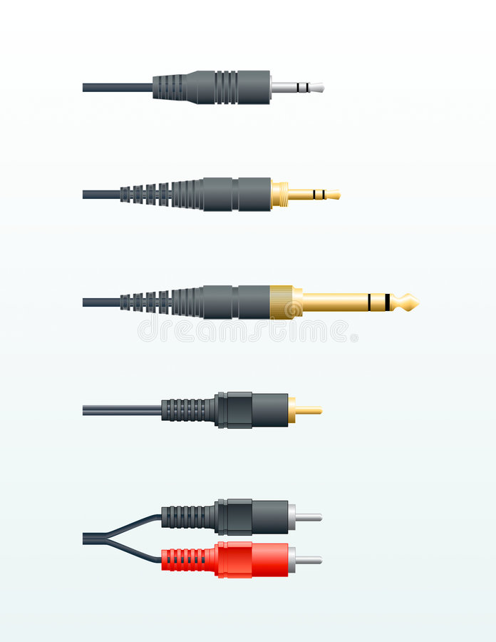 Audio cable plugs vector illustration