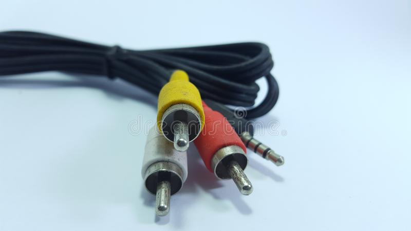 Audio cable, video on analog television. stock photo