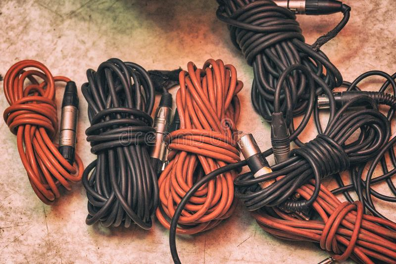 Audio cables for musical instruments and microphones stock photography