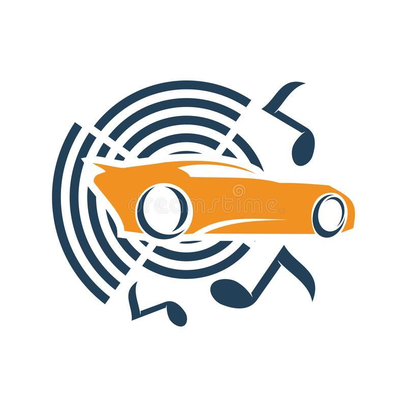 Audio Car System Music Note Logo Template Isolated Icon Symbol royalty free illustration