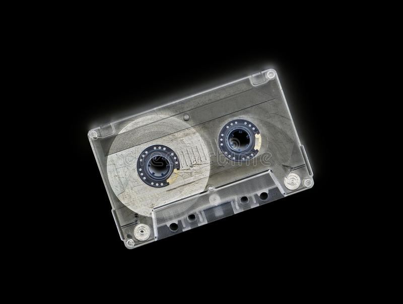 Audio casette with invert effect. Old audio casette isolated with invert effect giving more vintage look - clipping path stock photos