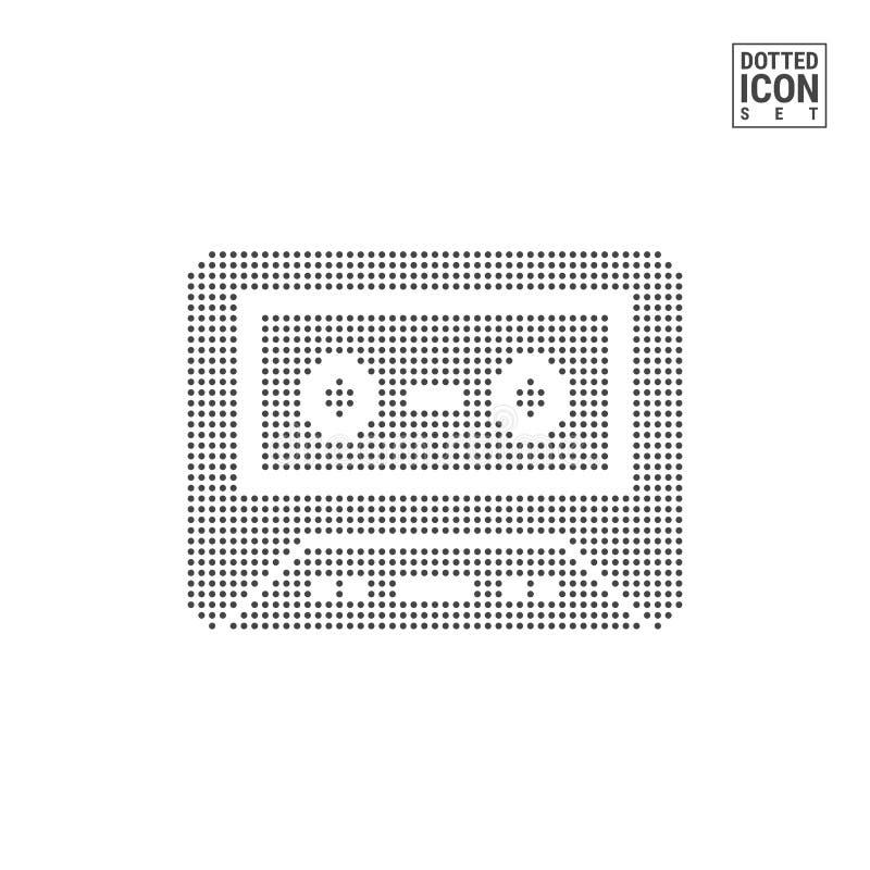 Audio cassetta Dot Pattern Icon Vecchio icona punteggiata di musica nastro isolata su bianco Modello del fondo o di progettazione royalty illustrazione gratis