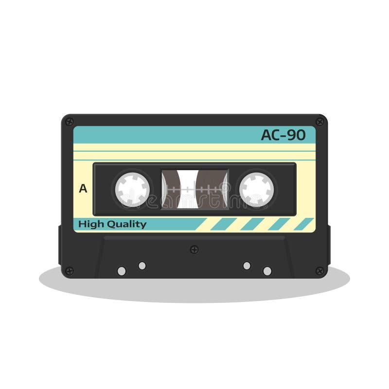 Audio cassetta nel retro stile isolata su un fondo bianco Icona d'annata di stoccaggio di musica di stile Vecchio nastro del gira illustrazione vettoriale
