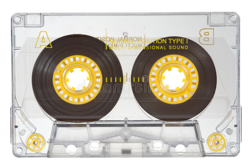Audio cassette. Transparent audio cassette on white royalty free stock photography
