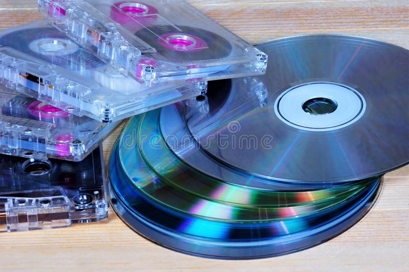 Audio cassette-Compact cassette retro media on magnetic tape for sound recording on a Cassette recorder. CD-ROM-optical media, stock photos