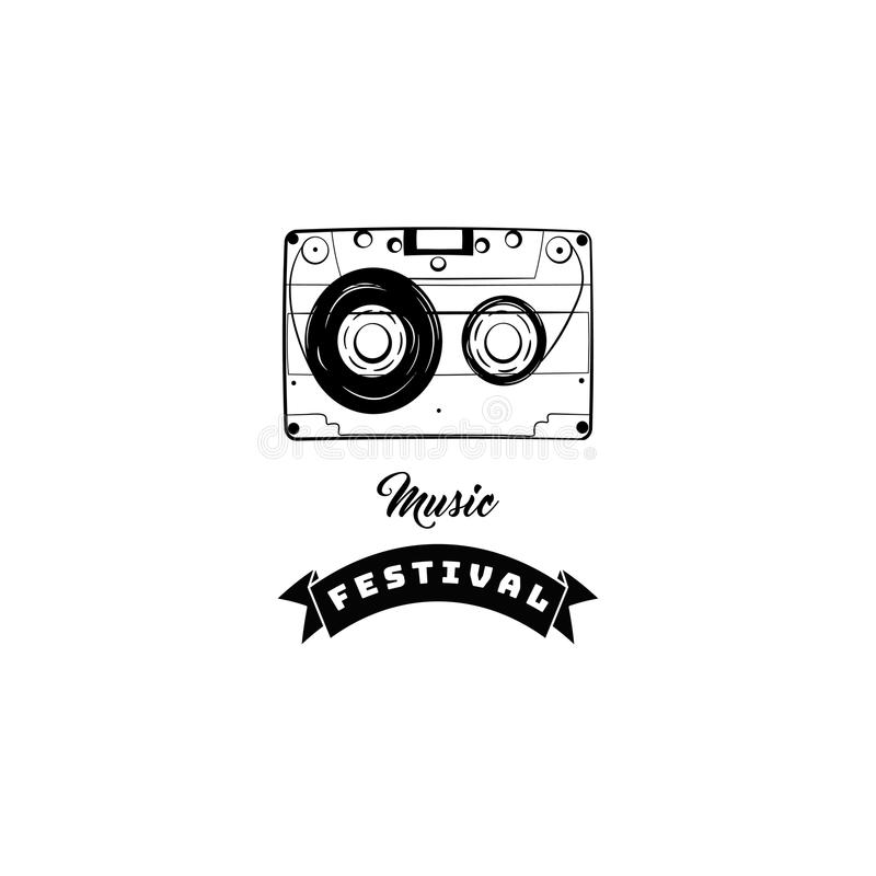 Audio Cassette icon. Audio tape. Music store shop festical logo. Vector illustration. stock illustration