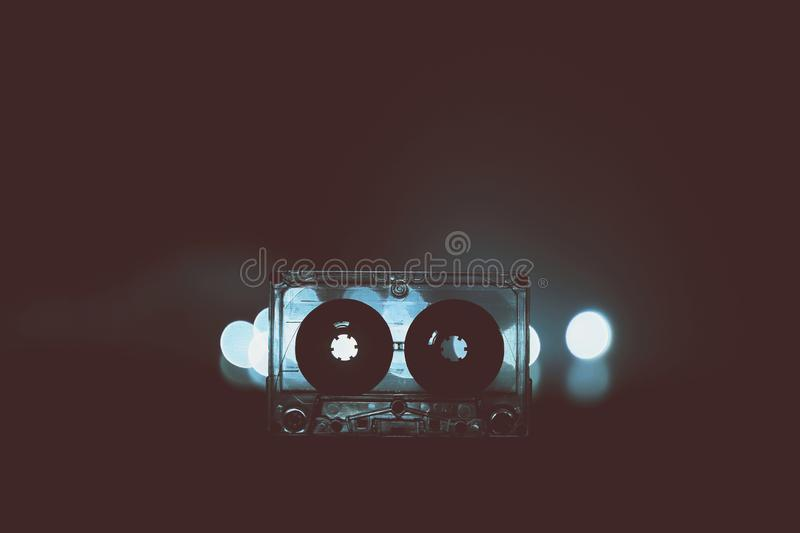 Audio cassette for music nostalgia play vintage. Audio cassette music background wallpaper background cover 70s 80s 90s top effect retro old vintage style modern stock images