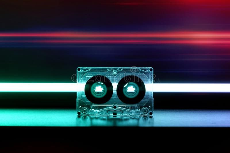 Audio cassette for music nostalgia play vintage. Audio cassette music background wallpaper background cover 70s 80s 90s top effect retro old vintage style modern royalty free stock image