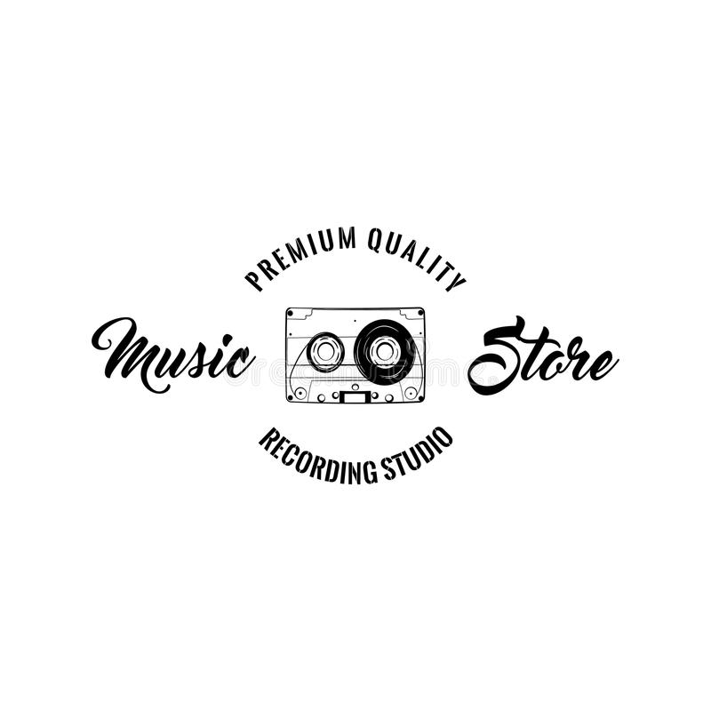 Audio cassette. Music store logo. Recording studio emblem design. Audio tape. Vintage music device. Vector. royalty free illustration