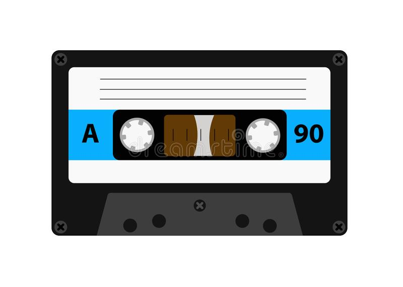 Audio cassette old tape recorders used in the 80s of the 20th century. It can be used as an illustration of the history. Of the technology of sound reproduction stock illustration