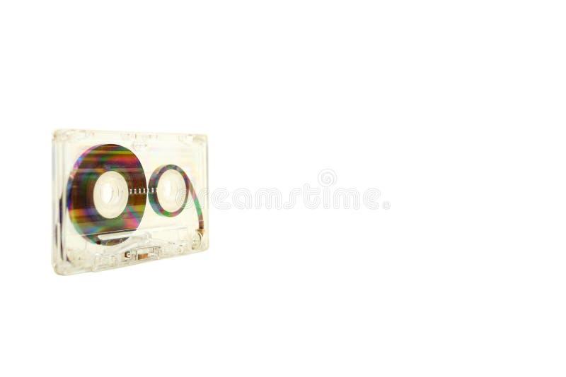 Audio cassette op witte achtergrond stock afbeeldingen