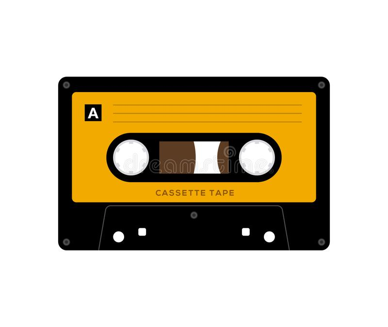 Audio cassette tape isolated vector old music retro player. Retro music audio cassette 80s blank mix royalty free stock photo