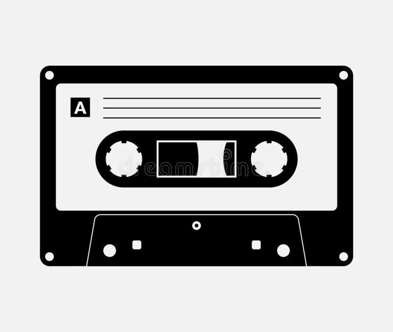 Audio cassette tape isolated vector old music retro player. Retro music audio cassette 80s blank mix.  royalty free illustration