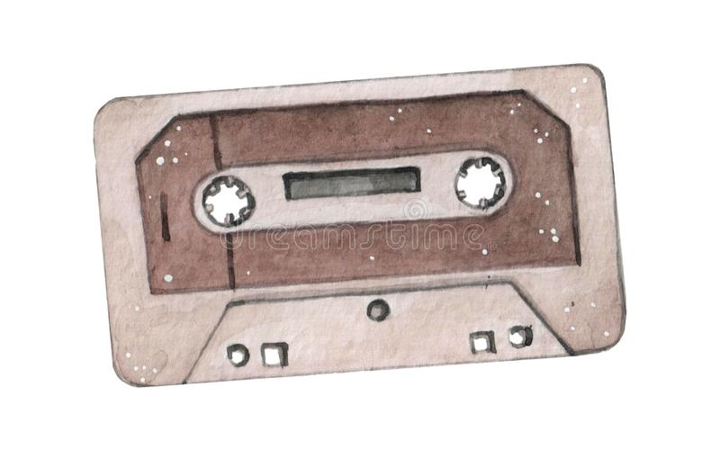 Audio cassette tape watercolor illustration isolated on wahite backgraound stock image