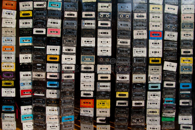 Audio cassettes curtain royalty free stock image