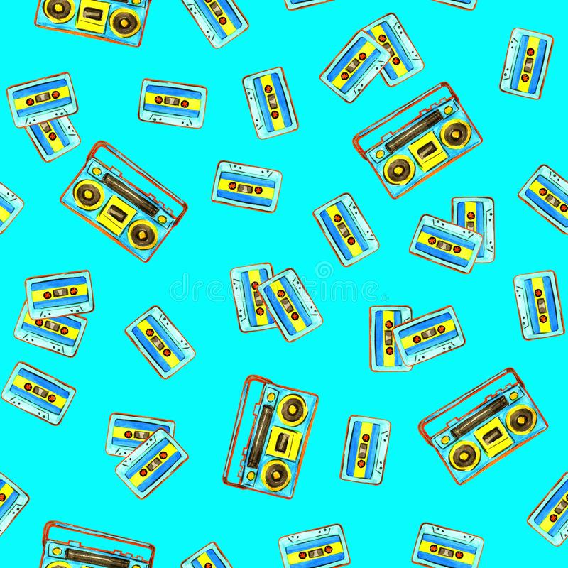 Audio cassettes and retro boombox royalty free illustration