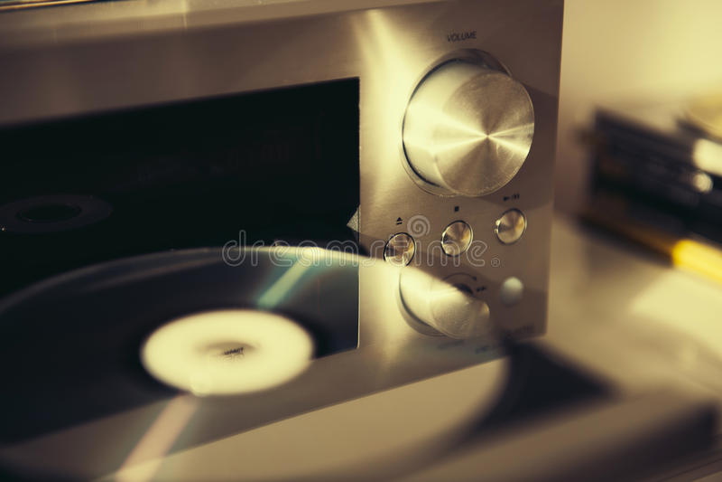 Audio CD player vintage mood stock image