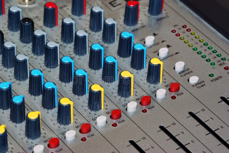 Download Audio channel mixer stock photo. Image of button, audio - 15860524