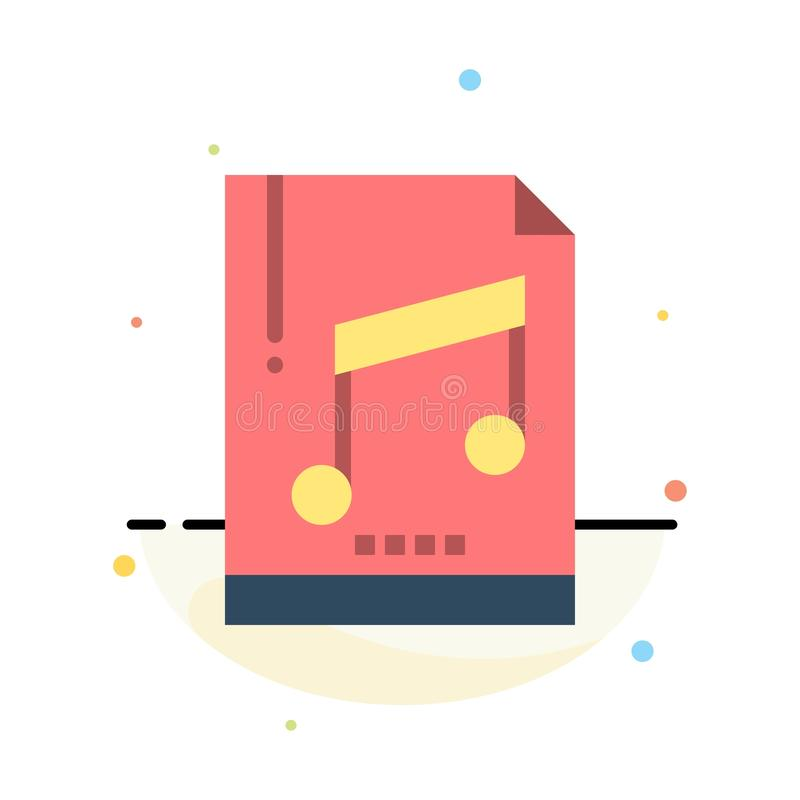 Audio, Computer, File, Mp3, Sample Abstract Flat Color Icon Template stock illustration