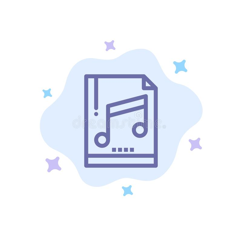 Audio, Computer, File, Mp3, Sample Blue Icon on Abstract Cloud Background royalty free illustration