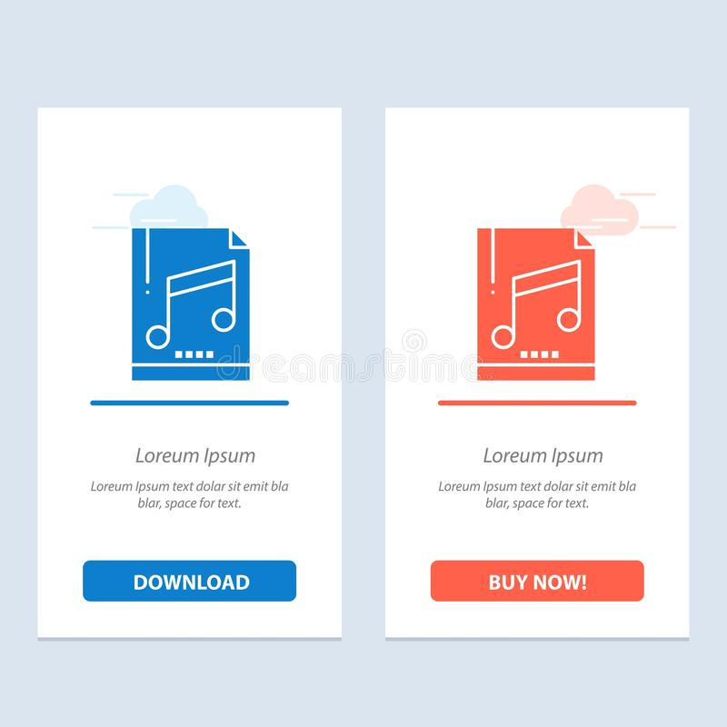 Audio, Computer, File, Mp3, Sample  Blue and Red Download and Buy Now web Widget Card Template vector illustration